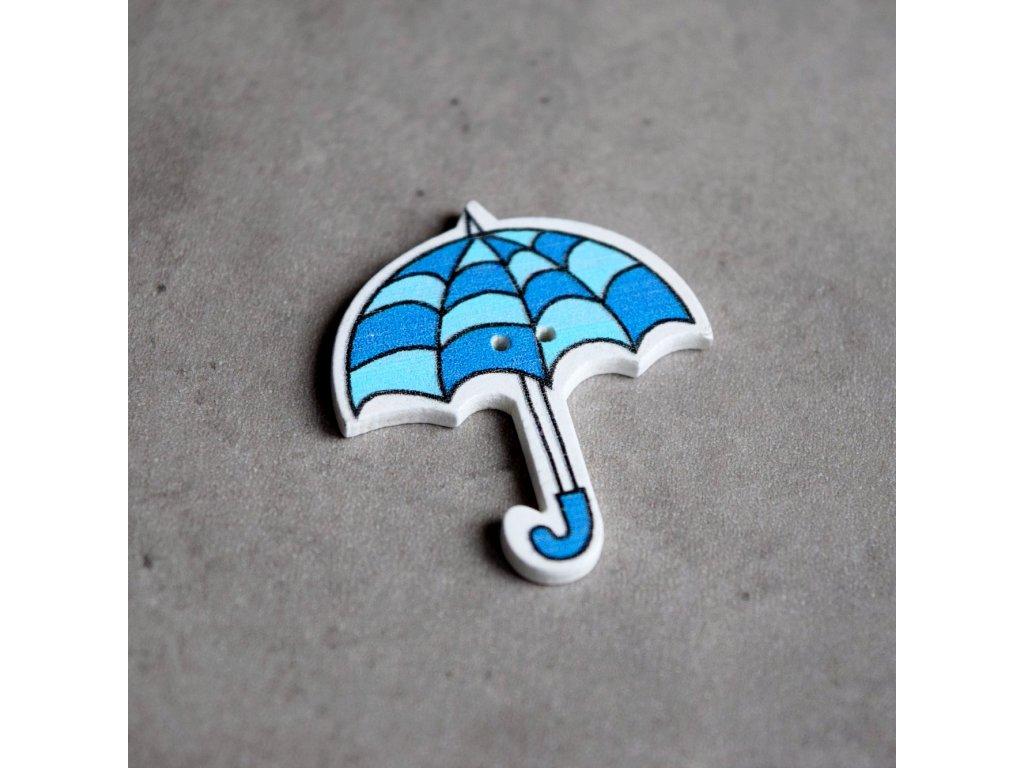 Dřevěný dekorační knoflík - deštník - modré vlnky