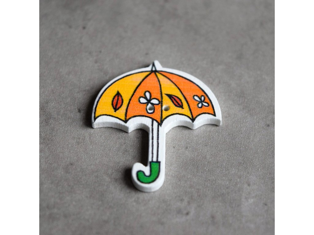Dřevěný dekorační knoflík - deštník - oranžový