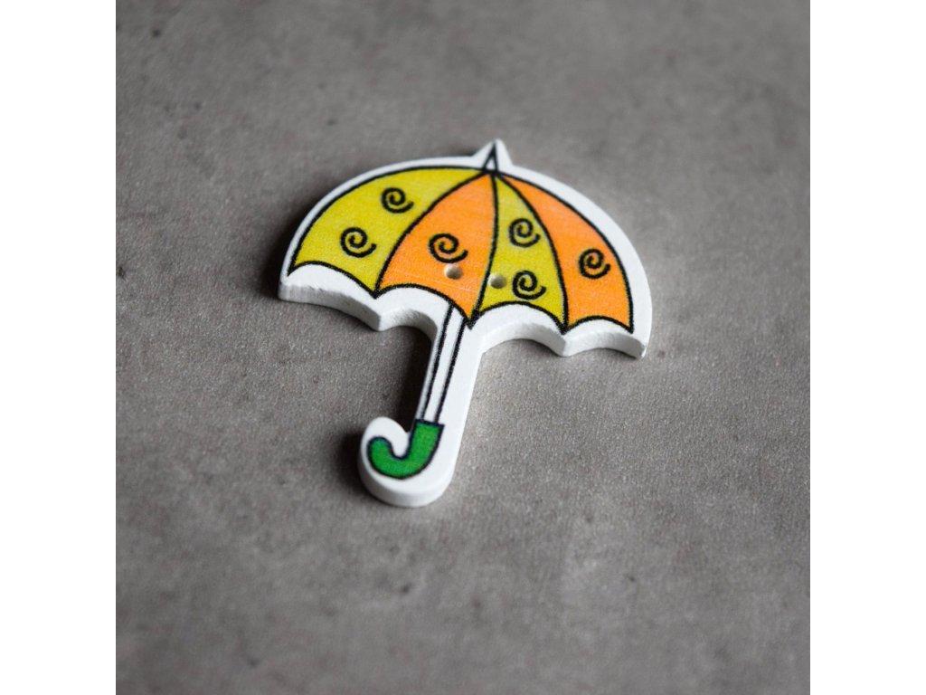 Dřevěný dekorační knoflík - deštník - zelenooranžový