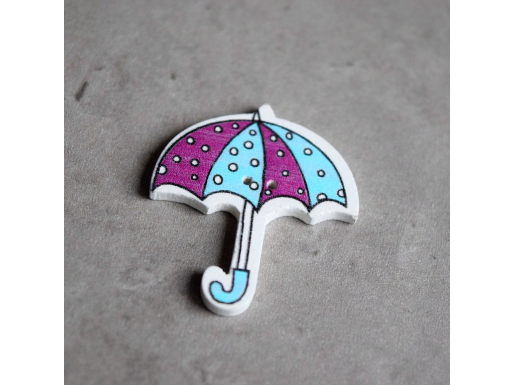 Dřevěný dekorační knoflík - deštník - fialovomodrý