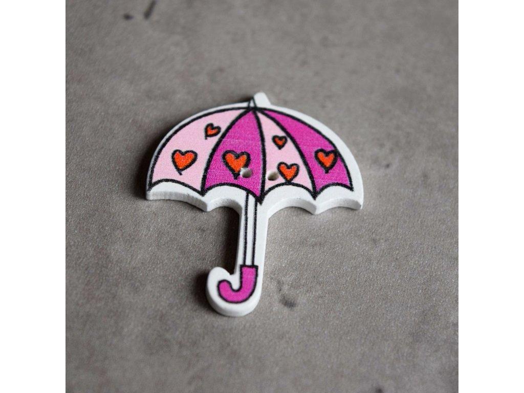 Dřevěný dekorační knoflík - deštník - růžová srdíčka