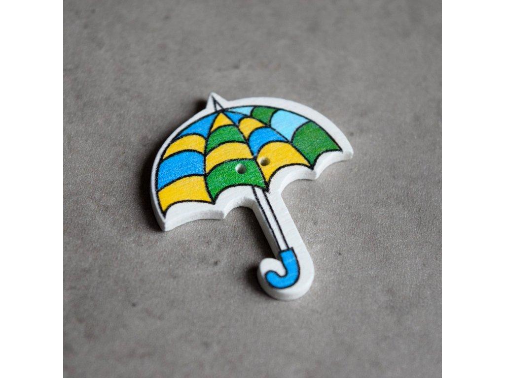 Dřevěný dekorační knoflík - deštník - barevné vlnky