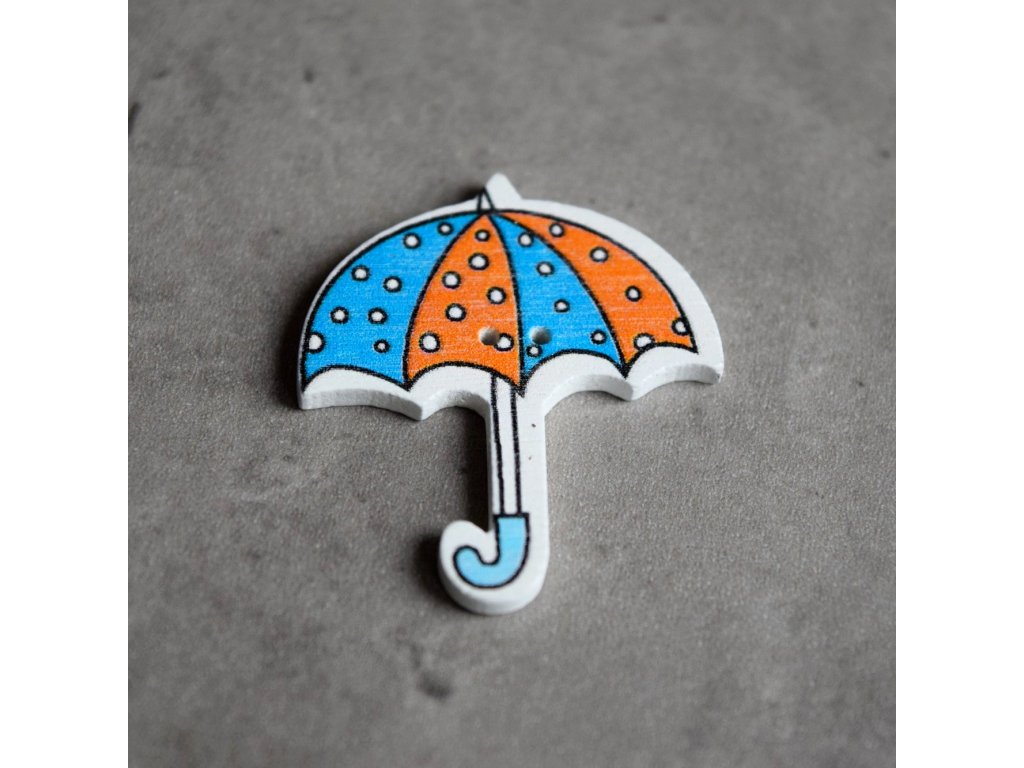 Dřevěný dekorační knoflík - deštník - oranžovomodrý