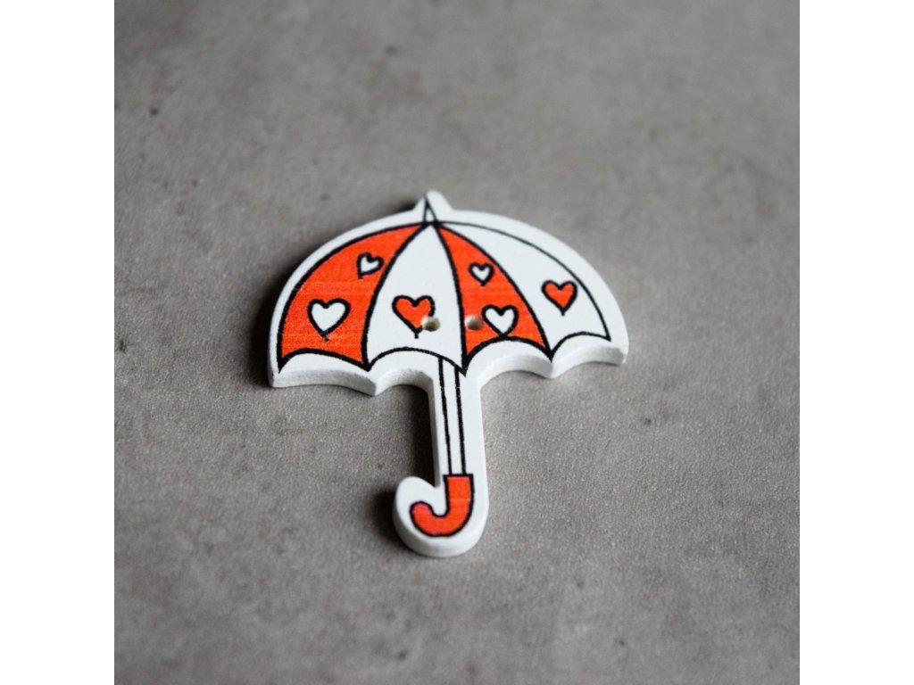 Dřevěný dekorační knoflík - deštník - červenobílý