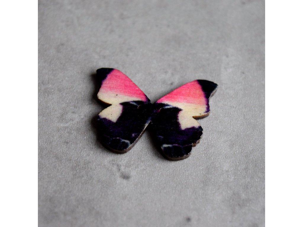 Dřevěný dekorační knoflík - motýl - růžovočerný
