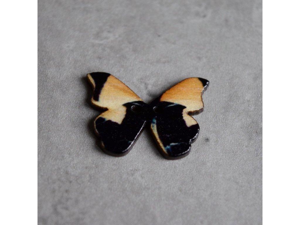 Dřevěný dekorační knoflík - motýl - černý