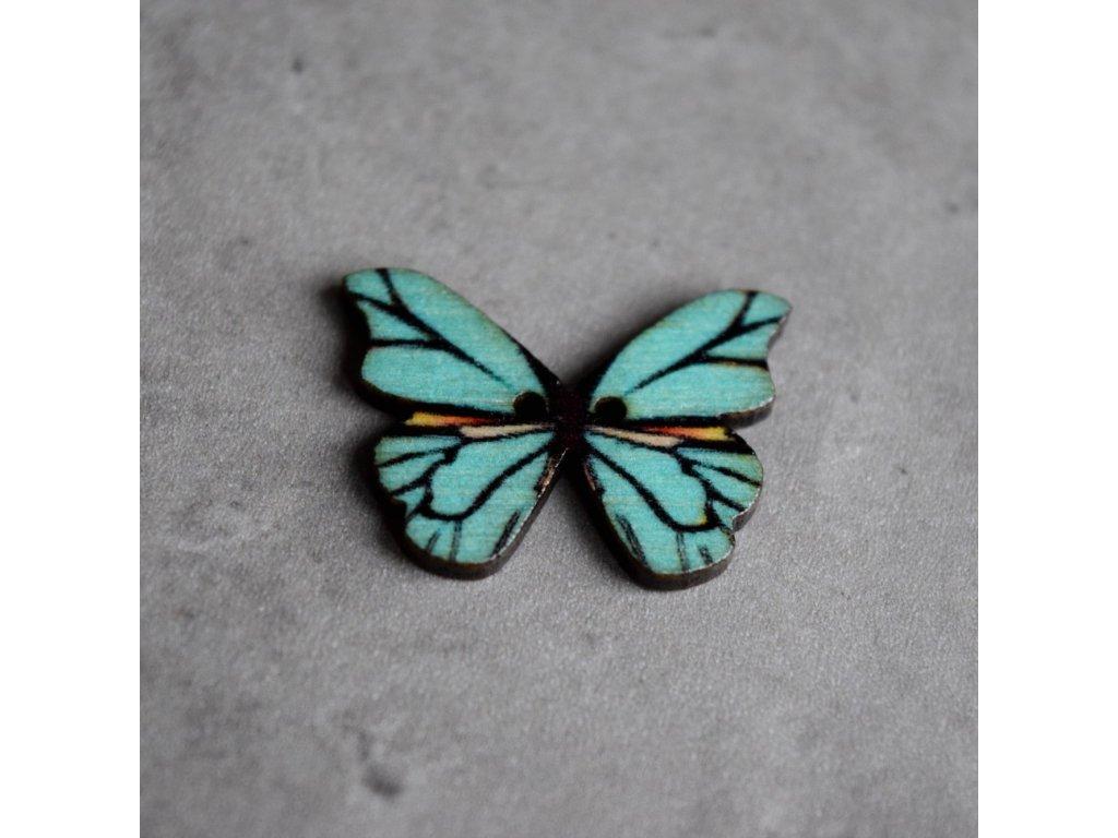 Dřevěný dekorační knoflík - motýl - modrý