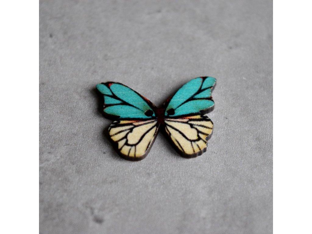 Dřevěný dekorační knoflík - motýl - modrobílý