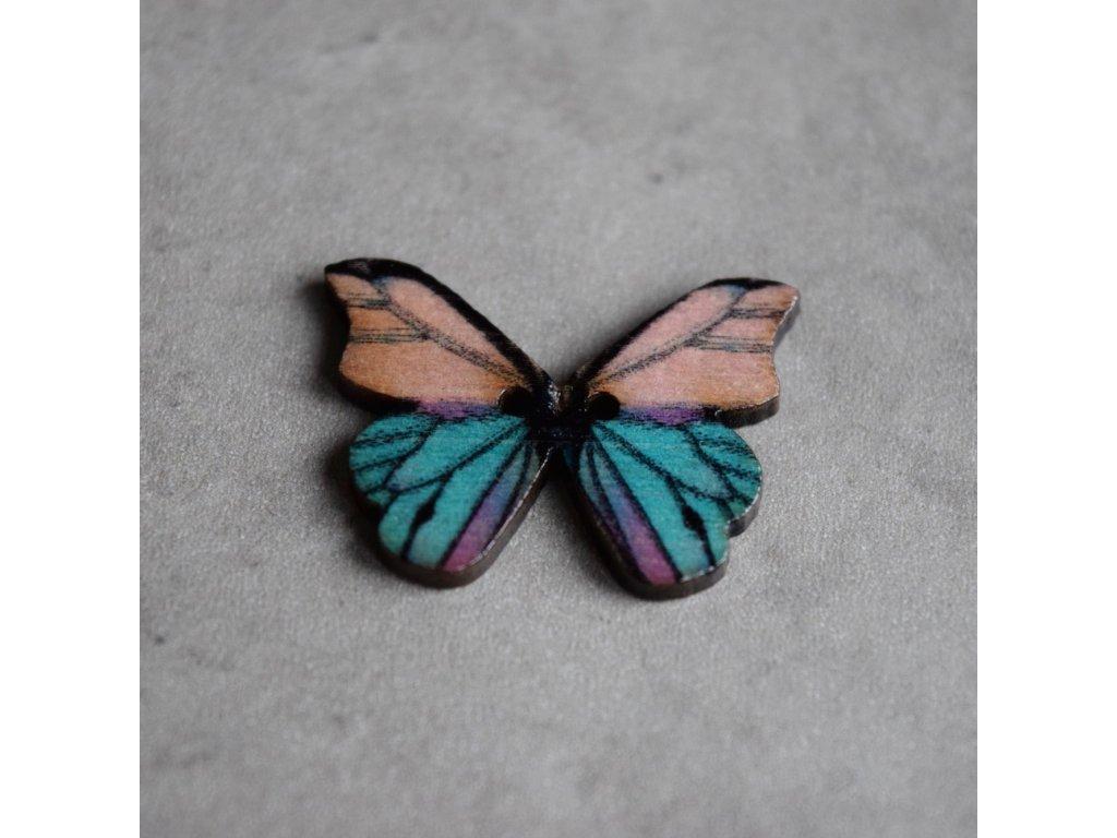 Dřevěný dekorační knoflík - motýl - modrofialový