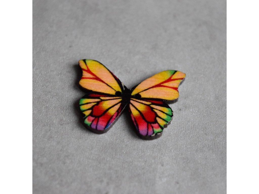 Dřevěný dekorační knoflík - motýl - barevný