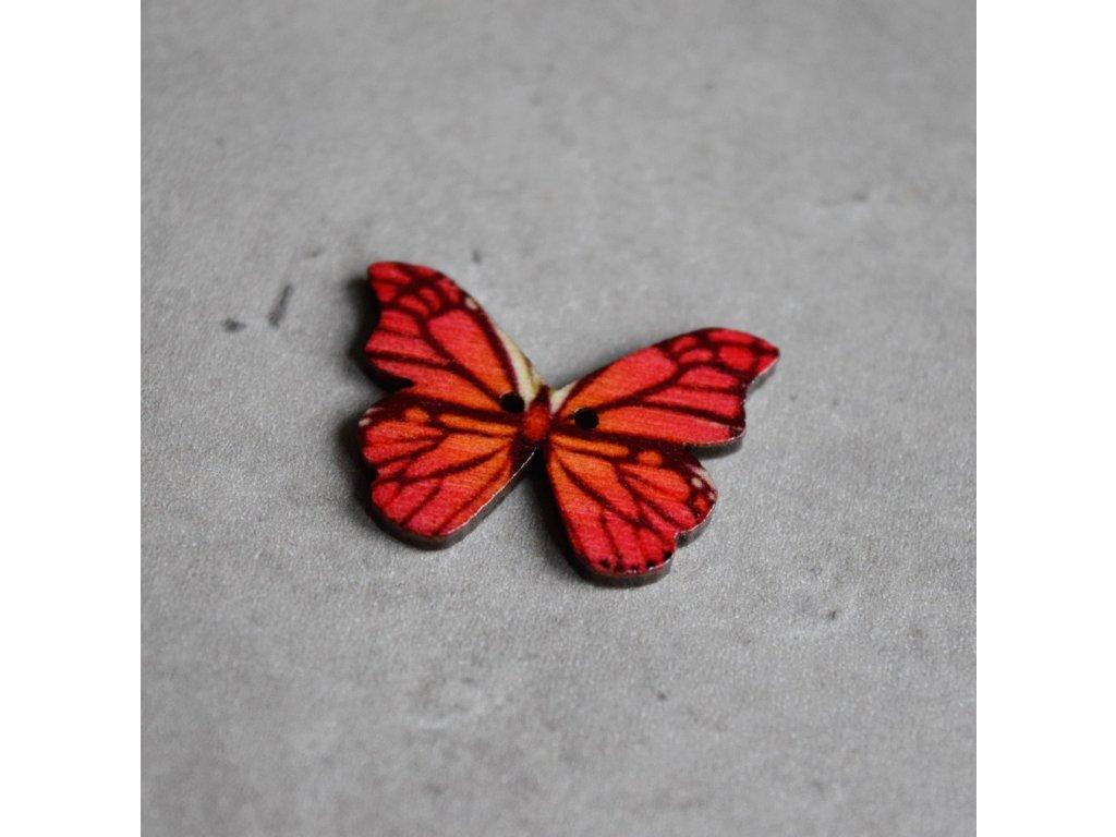 Dřevěný dekorační knoflík - motýl - červený