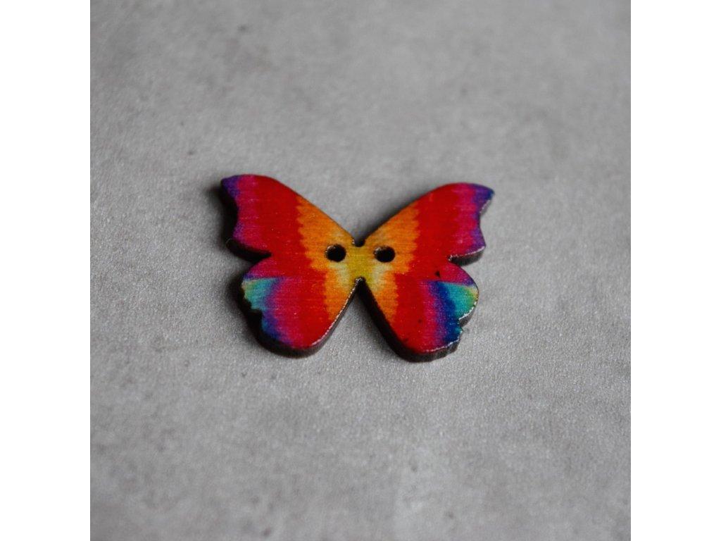 Dřevěný dekorační knoflík - motýl - modročervený