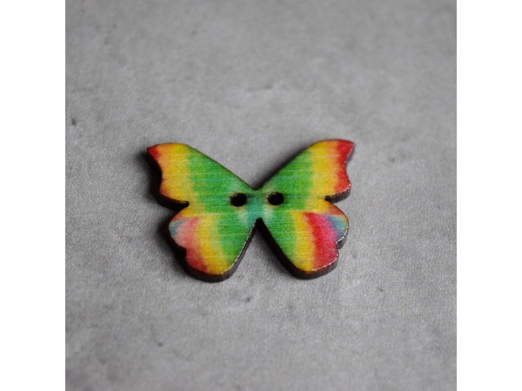 Dřevěný dekorační knoflík - motýl - zelenožlutý