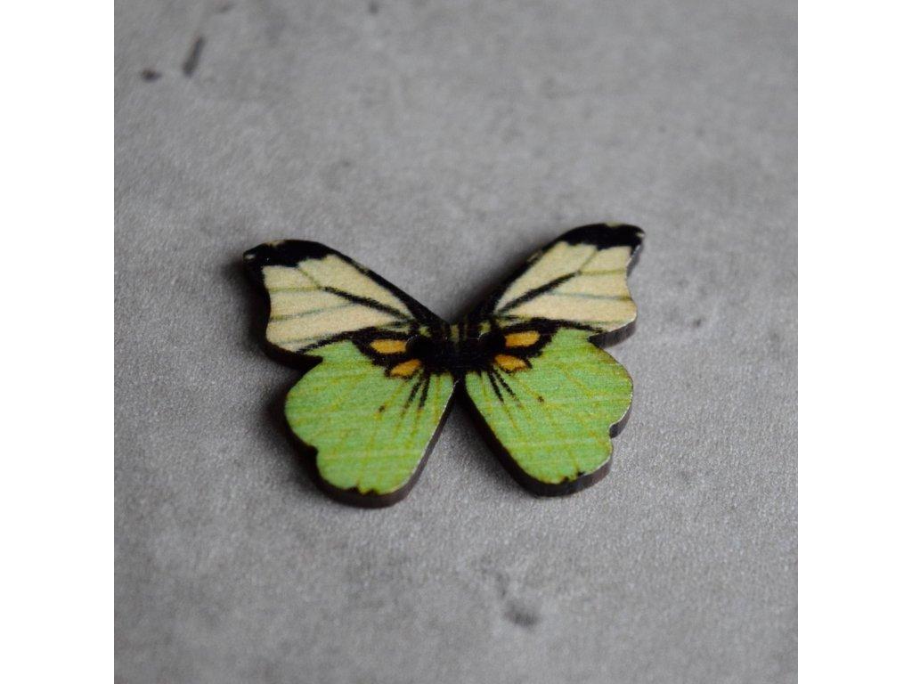 Dřevěný dekorační knoflík - motýl - zelený