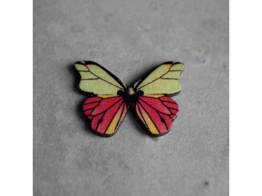 Dřevěný dekorační knoflík - motýl - růžovozelený