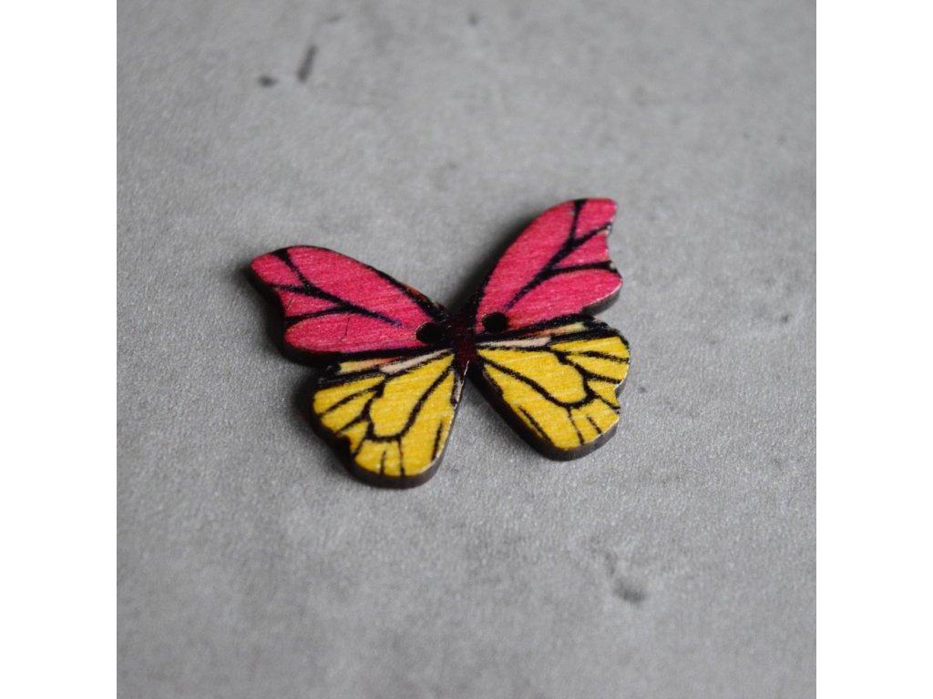 Dřevěný dekorační knoflík - motýl - růžovožlutý
