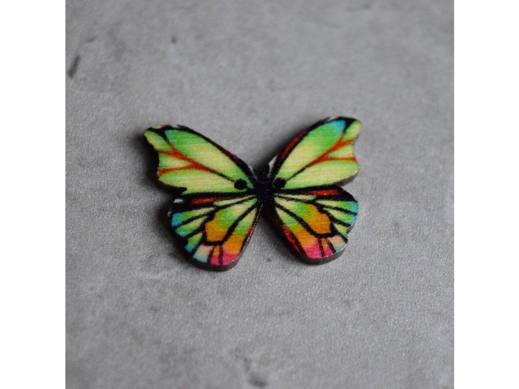 Dřevěný dekorační knoflík - motýl - pestrý