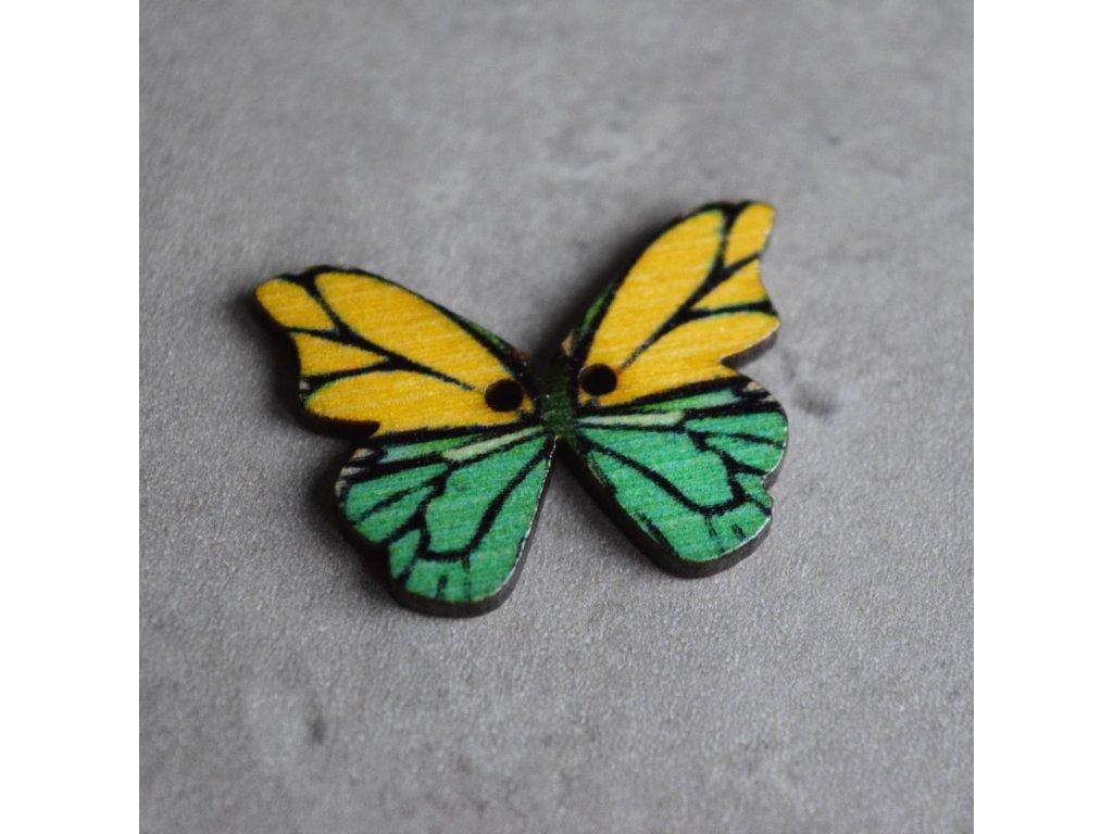 Dřevěný dekorační knoflík - motýl - zelenobílý