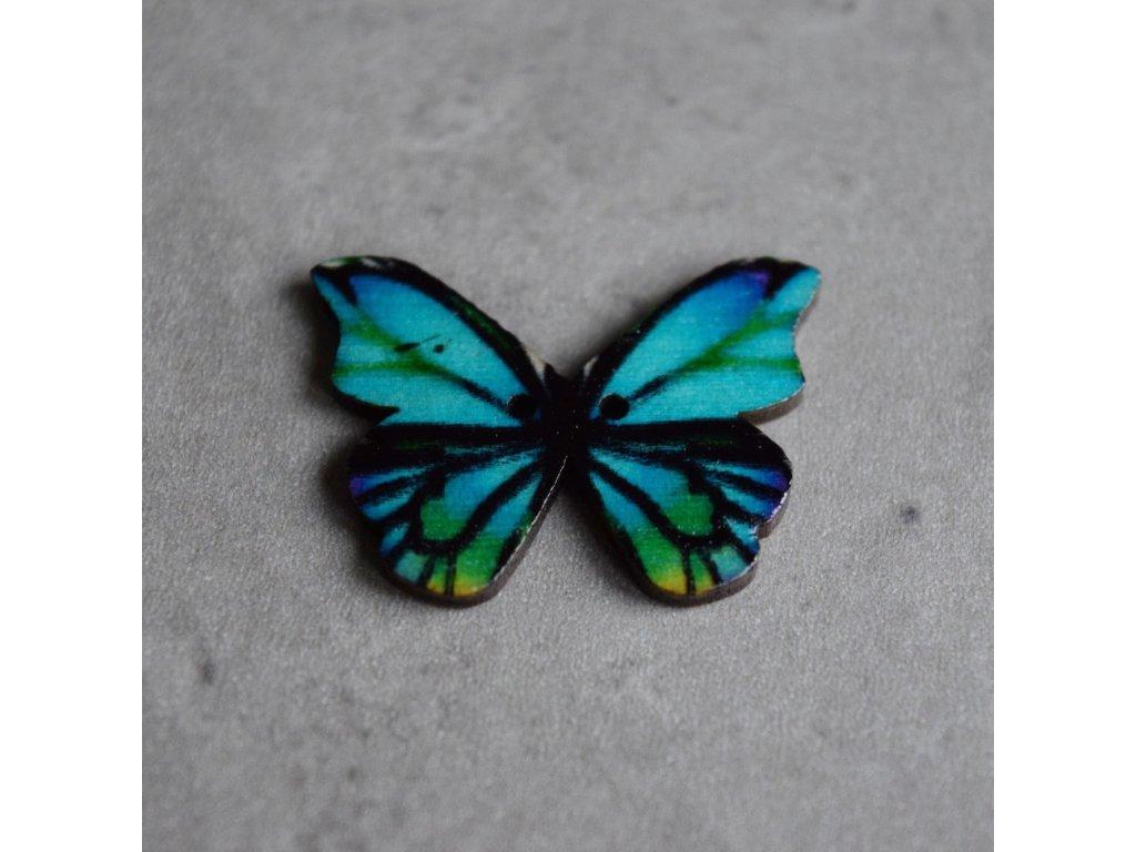 Dřevěný dekorační knoflík - motýl - modrozelený