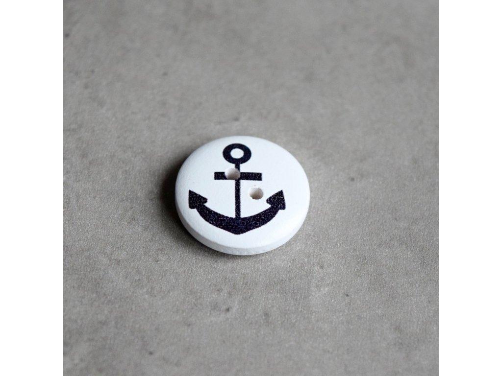 Dřevěný dekorační knoflík - námořnický - kotva