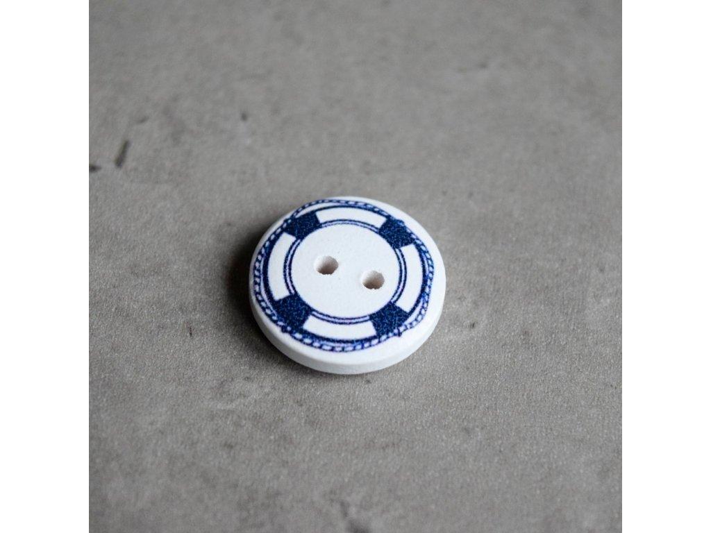 Dřevěný dekorační knoflík - námořnický - kruh