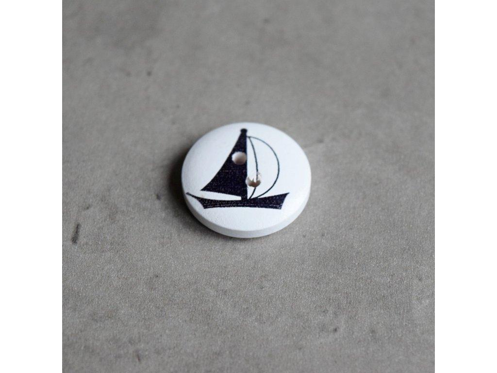 Dřevěný dekorační knoflík - námořnický - loď