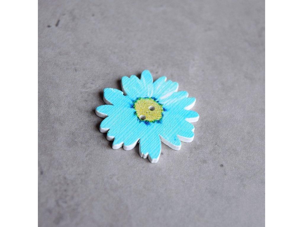 Dřevěný dekorační knoflík - květ - modrý