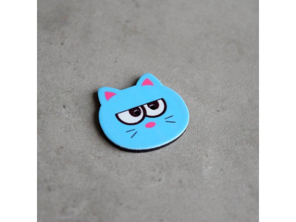 Knoflík - kočička - modrá