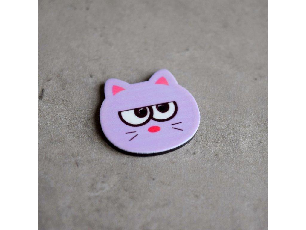 Knoflík - kočička - fialová