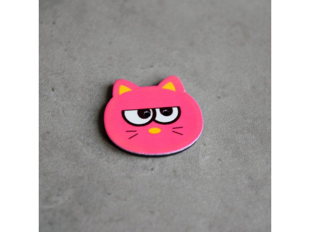 Knoflík - kočička - růžová