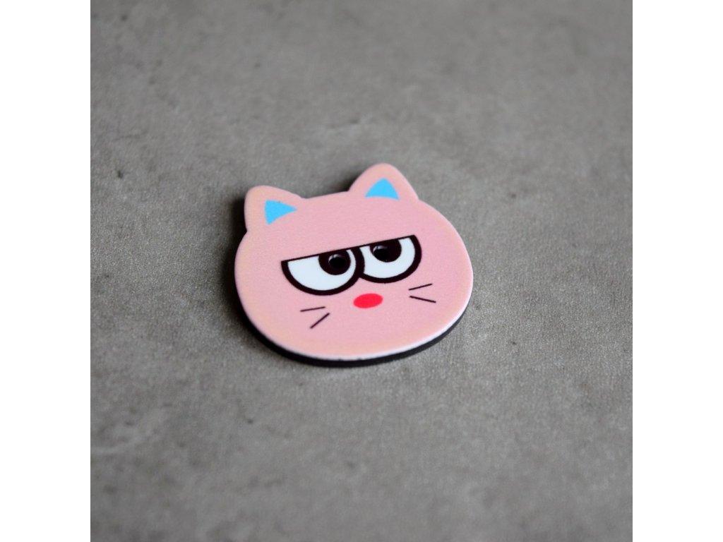 Knoflík - kočička - světle růžová