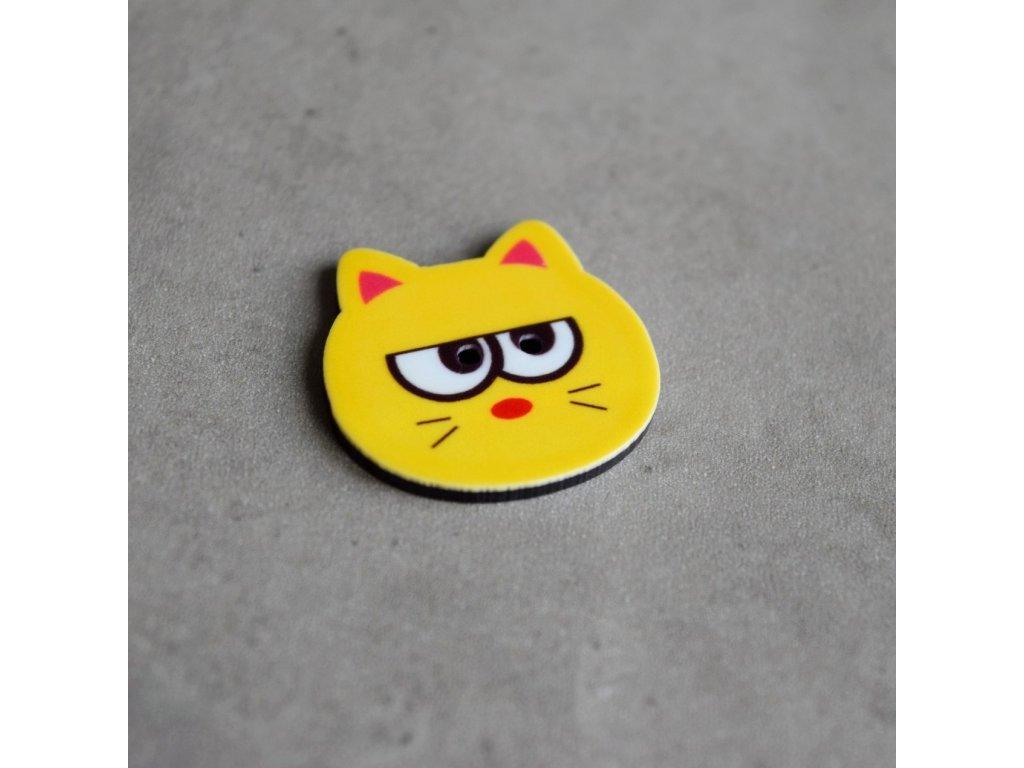 Knoflík - kočička - žlutá