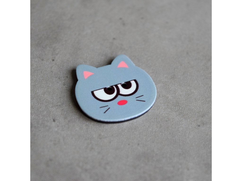 Knoflík - kočička - šedá