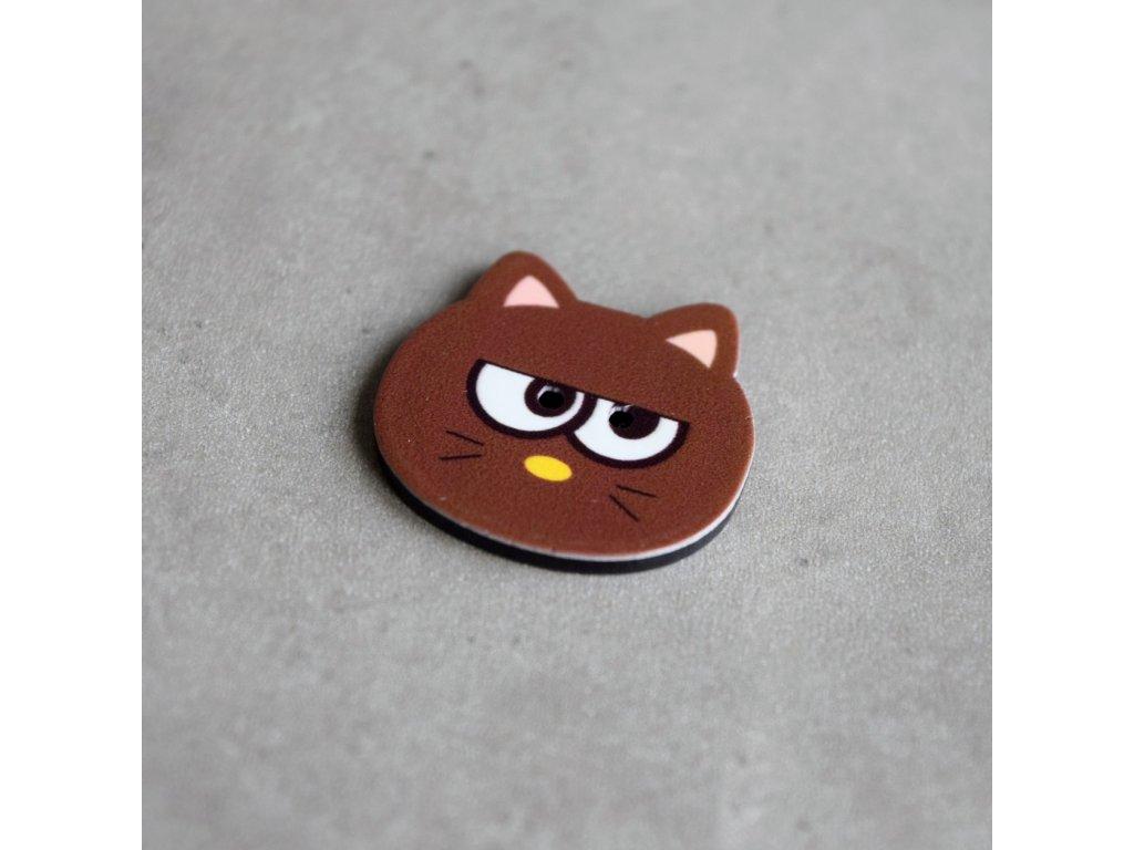 Knoflík - kočička - hnědá