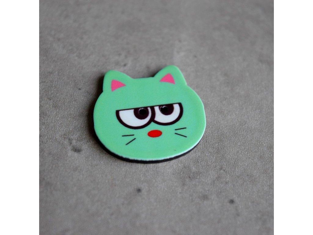 Knoflík - kočička - zelená