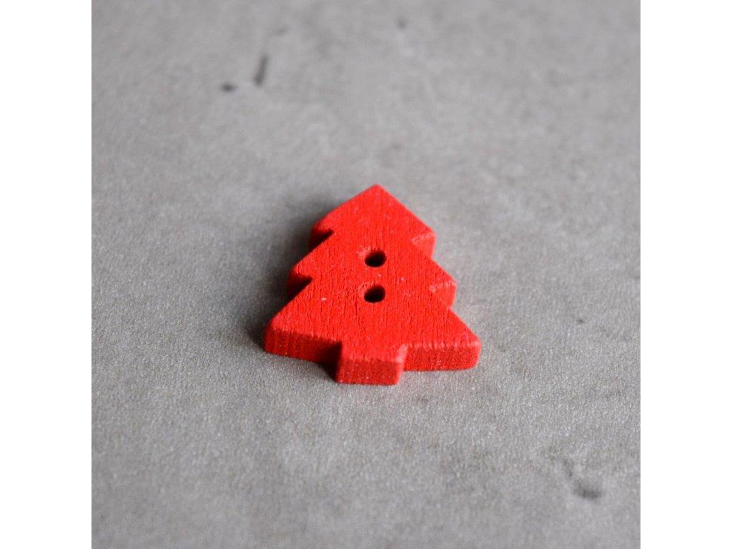 Dřevěný dekorační knoflík - stromek - červený