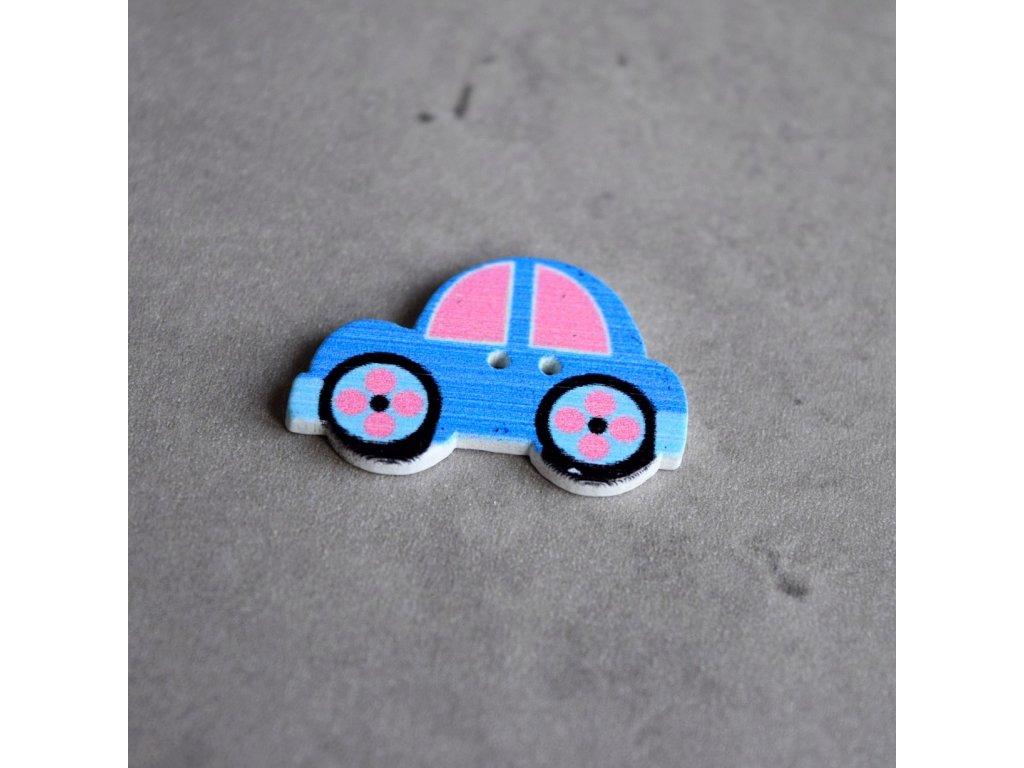 Dřevěný dekorační knoflík - autíčko - modré