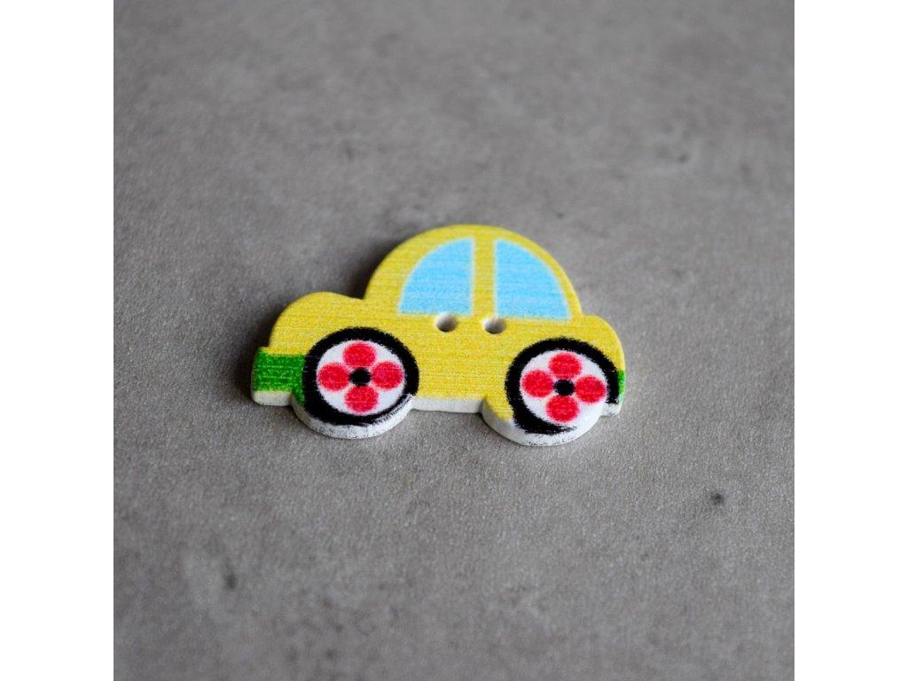 Dřevěný dekorační knoflík - autíčko - žluté