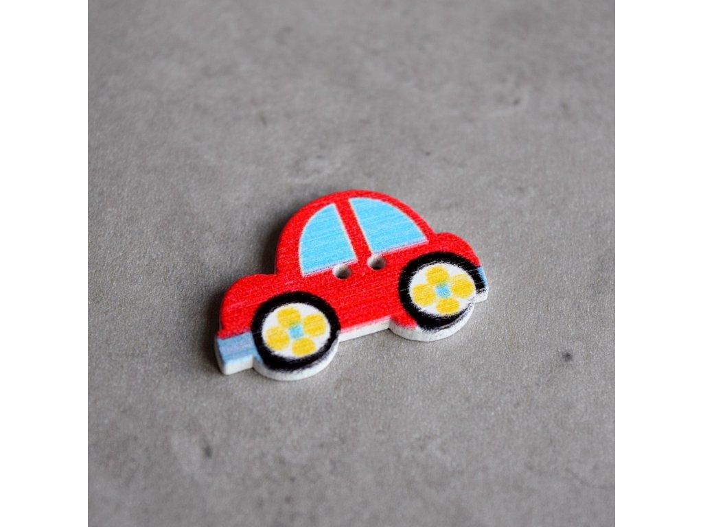Dřevěný dekorační knoflík - autíčko - červené