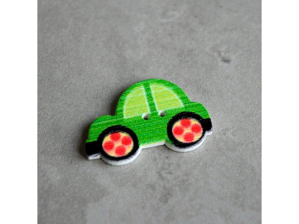 Dřevěný dekorační knoflík - autíčko - zelené