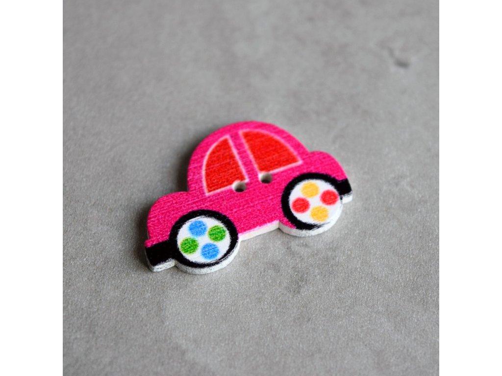 Dřevěný dekorační knoflík - autíčko - růžové