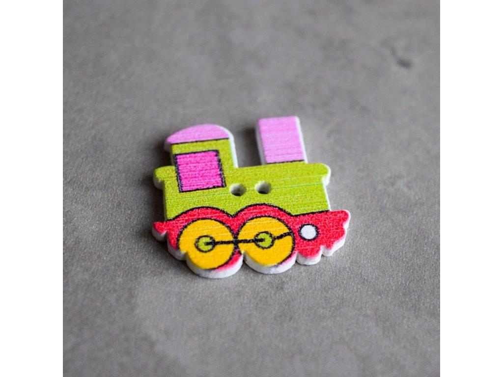 Dřevěný dekorační knoflík - mašinka - zelená