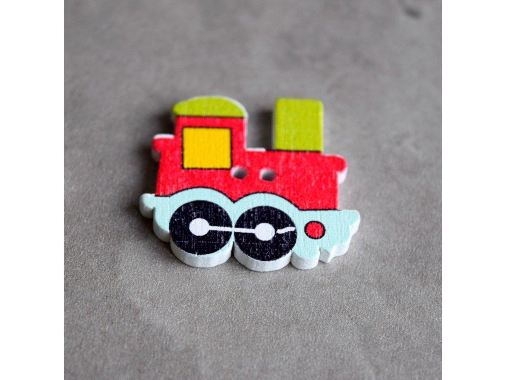 Dřevěný dekorační knoflík - mašinka - červená 1