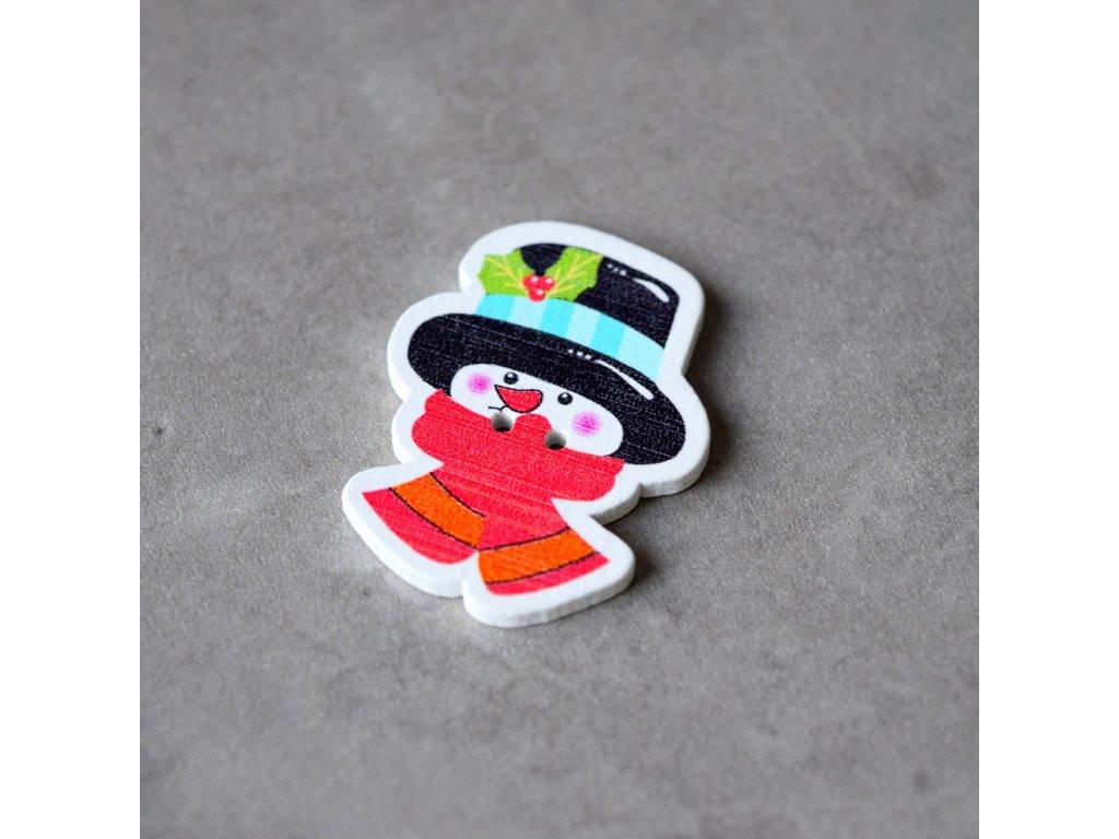 Dřevěný dekorační knoflík - sněhulák - hlava