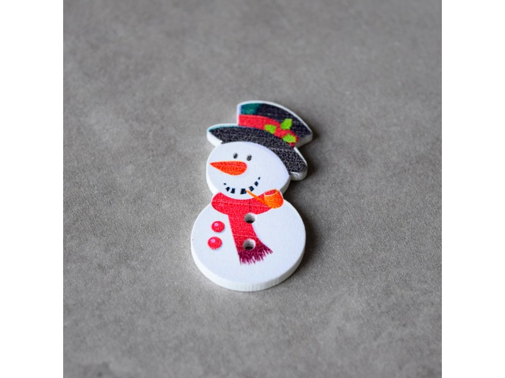 Dřevěný dekorační knoflík - sněhulák 1