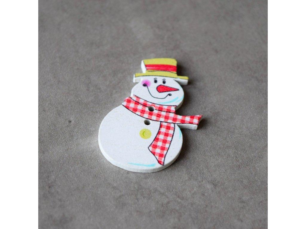Dřevěný dekorační knoflík - sněhulák 2