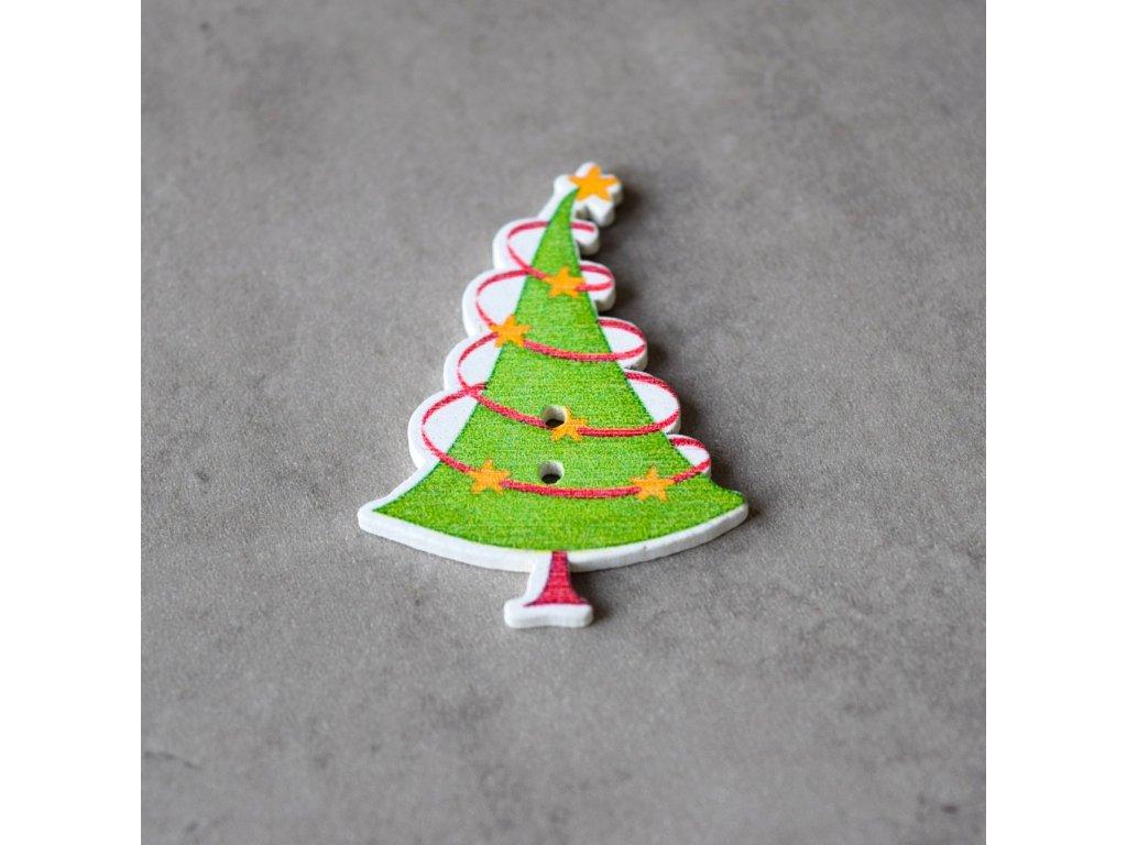 Dřevěný dekorační knoflík - vánoční stromek