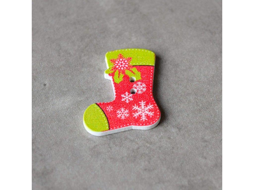 Dřevěný dekorační knoflík - ponožka