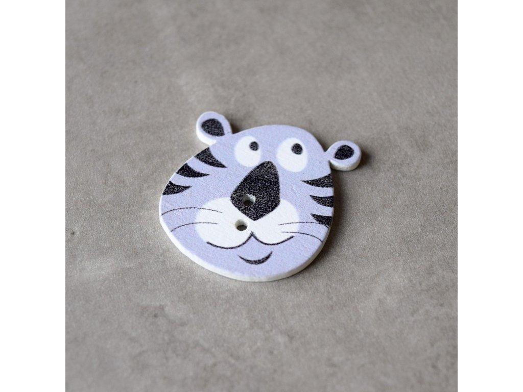 Dřevěný dekorační knoflík - tygr - šedý