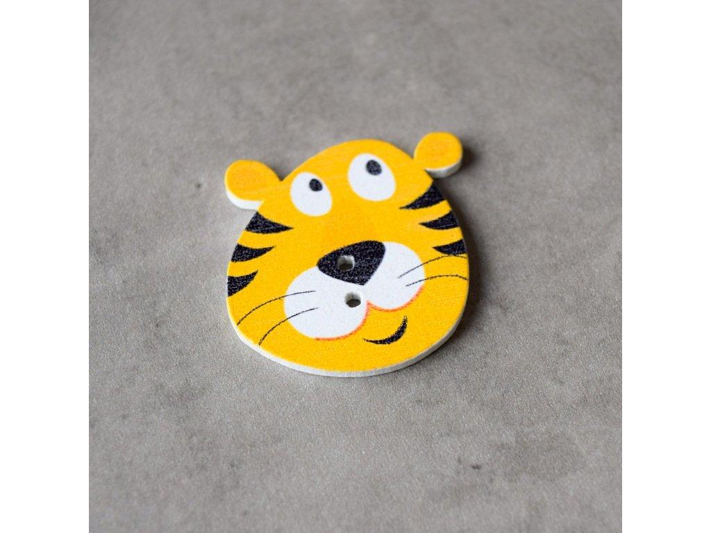 Dřevěný dekorační knoflík - tygr - oranžový